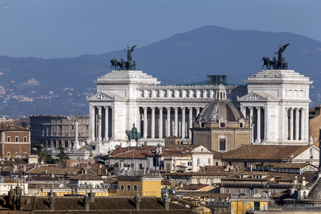 unified: The Altar of the Fatherland also known as the National Monument to Victor Emmanuel II is a monument built in honor of Victor Emmanuel, the first king of a unified Italy, located in Rome, Italy. Stock Photo