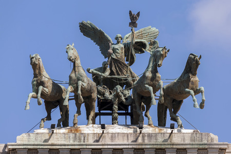 surmounted: The Palace of Justice is surmounted by a great bronze quadriga driven by Victoria, the goddess of victory, set there in 1926 by sculptor Ettore Ximenes from Palermo.