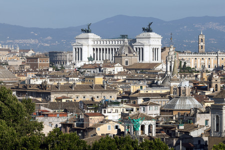 altar of fatherland: The Altar of the Fatherland also known as the National Monument to Victor Emmanuel II is a monument built in honor of Victor Emmanuel, the first king of a unified Italy, located in Rome, Italy. Stock Photo