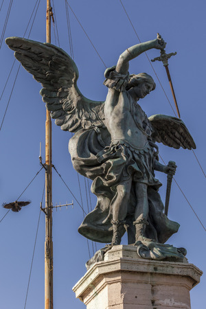 gigantic: Gigantic statue of the Archangel Michael by the 18th-century Flemish sculptor Pieter Verschaffelt, on the terrace of the fortress of Castel SantAngelo in Rome, Italy.