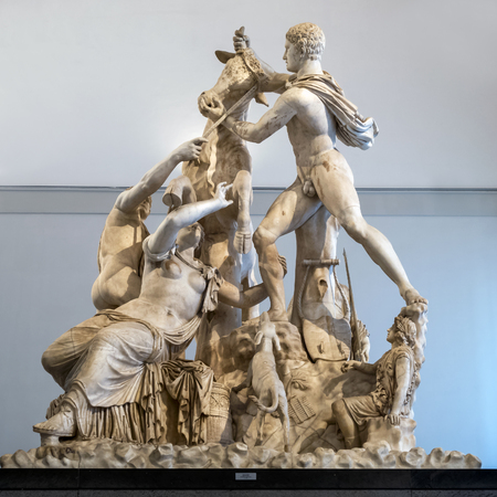 The Farnese Bull at the Naples National Archaeological Museum is a massive Hellenistic sculpture, the largest single sculpture ever recovered from antiquity to date. Editorial