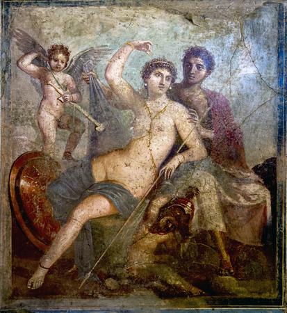 fresque romaine antique montrant Mars et Vénus, de Pompéi, Maison de Mars une Vénus au Musée archéologique de Naples.