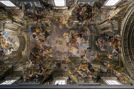 glorious: SantIgnazio di Loyola churchs glorious Baroque ceiling was painted by Andrea Pozzo in 1685 to celebrate St Ignatius and the Jesuit order.