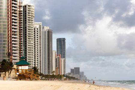 barrier island: SUNNY ISLES BEACH, FL - DECEMBER 28 2015: Sunny Isles Beach is a city located on a barrier island in northeast Miami-Dade County, Florida, often referred to as Floridas Riviera.