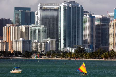 hobie: MIAMI - DECEMBER 30 2015: Hobie Beach is Miamis most popular beach for windsurfers and dog lovers, located in a narrow strip along the Rickenbacker Causeway in Key Biscayne. Editorial
