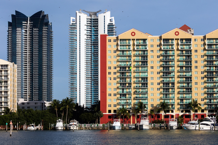 barrier island: SUNNY ISLES BEACH, FL - JANUARY 1 2016: Skyline of the Sunny Isles Beach city located on a barrier island in northeast Miami-Dade County, Florida, often referred to as Floridas Riviera.