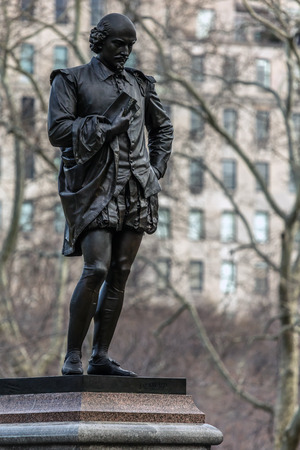 english famous: NEW YORK - MARCH 12 2016: Statue of William Shakespeare by the American sculptor John Quincy Adams Ward was erected in the Central Park in 1872.