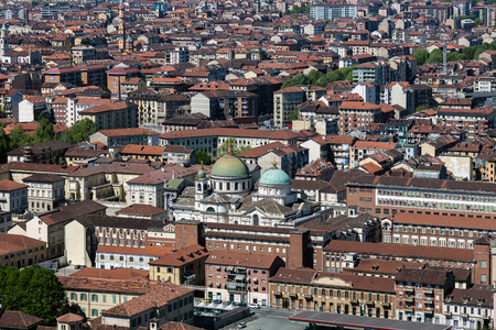 sprawl: TURIN, ITALY - APRIL 25 2016: Panorama of the Turin, Italy as viewed from the Turin Eye air balloon.