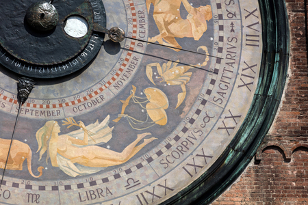 zodiac constellations: The clock on the Torrazzo tower is the largest astronomical clock in the world, painted by Paolo Scazzola in 1483, shows the sky with zodiac constellations and the Sun and Moon moving through them.