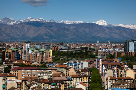 Panorama of the Turin, Italy with the snow covered Alps in the background, viewed from the Turin Eye air balloon.