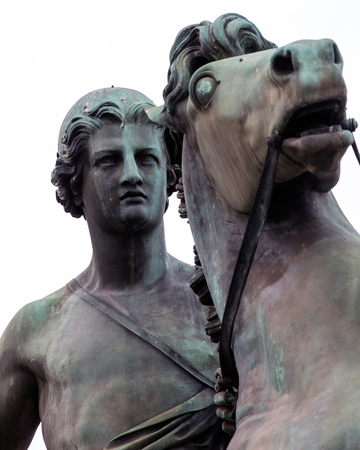 mythological: Bronze equestrian statue of Castor, one of the Greek and Roman mythological Dioscuri twins in front of the Royal Palace in Turin, Italy, sculpted in 1841 by Abbondio Sangiorgio Editorial