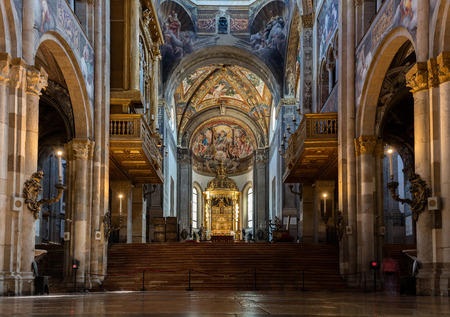 renaissance art: PARMA, ITALY - APRIL 27 2016: 12th-century Romanesque Parma cathedral filled with Renaissance art. Its ceiling fresco by Correggio is considered a masterpiece of Renaissance fresco work.