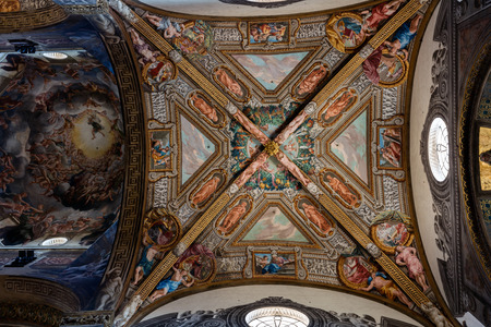 renaissance: PARMA, ITALY - APRIL 27 2016: 12th-century Romanesque Parma cathedral filled with Renaissance art. Its ceiling fresco by Correggio is considered a masterpiece of Renaissance fresco work.