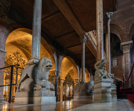 consecrated: MODENA, ITALY - APRIL 27 2016: Interior of the Modena Cathedral, consecrated in 1184. The cathedral is an important Romanesque building in Europe and a UNESCO World Heritage Site since 1997.
