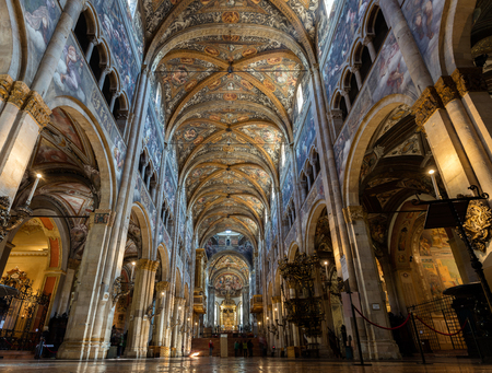 fresco: PARMA, ITALY - APRIL 27 2016: 12th-century Romanesque Parma cathedral filled with Renaissance art. Its ceiling fresco by Correggio is considered a masterpiece of Renaissance fresco work.