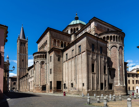 consecrated: PARMA, ITALY - APRIL 27 2016: Parma Cathedral built in Italian Romanesque style, consecrated by the Pope Paschal II in 1106.