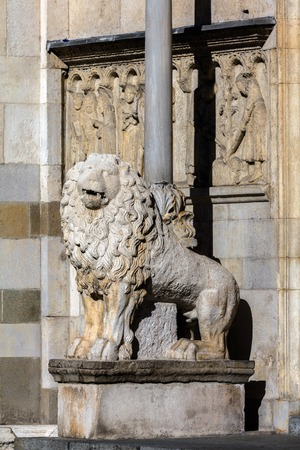 discovered: The lions at the entrance to the Modena Cathedral are dated 2nd Century AD and believed to be discovered while digging the Cathedrals foundations. Stock Photo