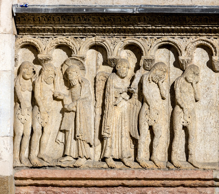 11th century carving of the Creation and Fall on the Modenas Cathedral facade. The figures are carved in high relief, giving them a strong sense of three-dimensionality.