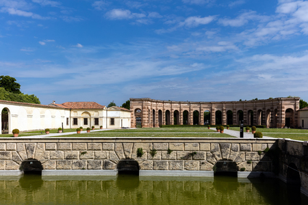 acknowledged: MANTUA, ITALY - APRIL 28 2016: Palazzo Te in Mantua is a major tourist attraction. It is a fine example of the mannerist style of architecture, the acknowledged masterpiece of Giulio Romano.
