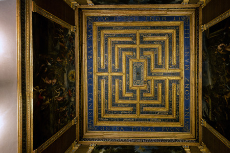 tourist attraction: MANTUA, ITALY - APRIL 28 2016: Ceiling of one of the rooms in the 13th century Mantuas Ducal Palace, a major tourist attraction and a part of the Mantua UNESCO World Heritage Site. Editorial