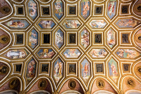 te: MANTUA, ITALY - APRIL 28 2016: Palazzo Te in Mantua is a major tourist attraction. The ceiling frescoes are the most remarkable feature if the palace, built in the mannerist architectural style.