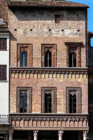 merchant: Late Gothic and Venetian style terracotta decorations of the house of the merchant Giovan Boniforte from Concorezzo, built in 1455 in Mantua, Italy