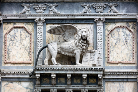 Lion of St. Mark on the facade of the Scuola Grande di San Marco in Venice, Italy, home to one of the six major sodalities or Scuole Grandi of Venice.