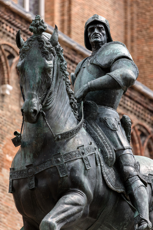 15th century: 15th century statue of Bartolomeo Colleoni the famous condottiere or commander of mercenaries in Venice, Italy Editorial