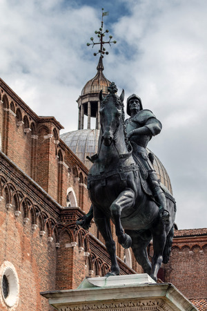 15th century statue of Bartolomeo Colleoni the famous condottiere or commander of mercenaries in Venice, Italy Editorial