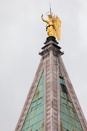 angel gabriel: Golden angel Gabriel weather vane of top of the 16th century St. Marks Campanile in Venice, Italy Stock Photo