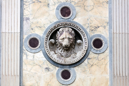 st mark: Lion of St. Mark on the facade of the medieval Scuola Grande di San Marco in Venice, Italy