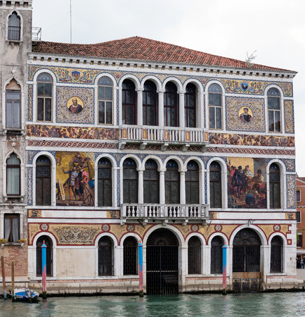 opulent: VENICE, ITALY - MAY 1 2016: 16th century Palazzo Barbarigo is one of the more opulent palaces on the Grand Canal, distinguished by its mosaics of Murano glass applied in 1886. Editorial