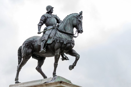 commander: 15th century statue of Bartolomeo Colleoni the famous condottiere or commander of mercenaries in Venice, Italy Editorial