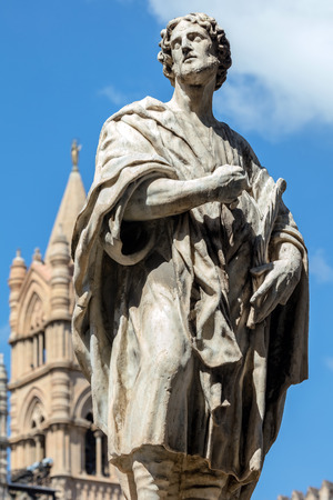 Statue of a Christian saint in front of the Palermo Cathedral in Palermo, Sicily