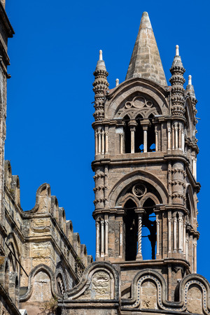 Tower of the Palermo Cathedral in Palermo, Sicily. The cathedral is characterized by the presence of different styles, due to a long history of additions, alterations and restorations.