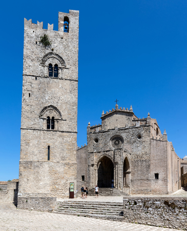 erice: ERICE, ITALY - AUGUST 9 2016: Chiesa Matrice, a.k.a. Cathedral of Erice, dedicated to Our Lady of the Assumption, originally built in 1314, drastically restored in 1865.