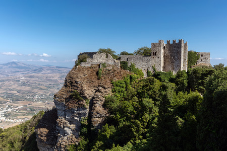 erice: Medieval Venus Castle in Erice, Sicily, dating from the Norman period, built on top of the ancient Temple of Venus, where Venus Ericina was worshiped.