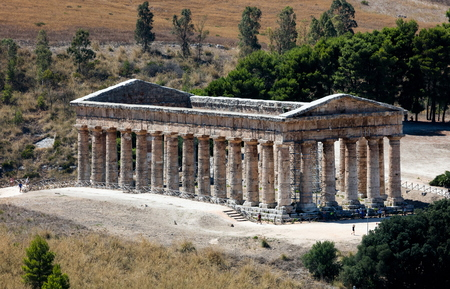 unusually: Unusually well preserved Greek Doric temple of Segesta is thought to have been built in the 420s BC by an Athenian architect and has six by fourteen columns on a base measuring 21 by 56 meters.