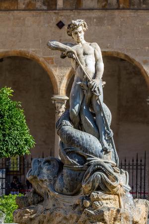 Triton fountain at the center of Piazza Vittorio Emanuele in Monreale, Sicily, sculpted in 1881 by Mario Rutelli.