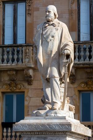 Marble statue of general Giuseppe Garibaldi erected in 1890 by Leonardo Croce in front of the former Grand Hotel at Piazza Garibaldi in Trapani, Sicily