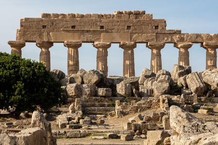 The ruins of Selinunte, Sicily are among the most striking archaeological sites in the Mediterranean and a supreme example of the fusion of Phoenician and Greek culture. Фото со стока
