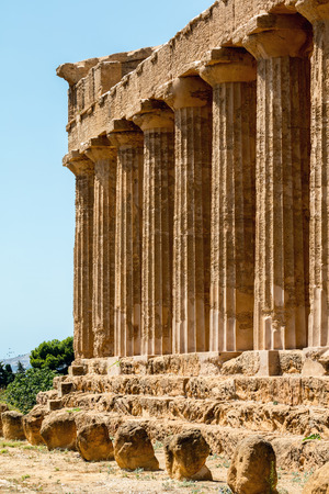 Ancient Greek (c.430 BC) Temple of Concordia in the Valley of the Temples, Agrigento is the largest and best-preserved Doric temple in Sicily and one of the best-preserved Greek temples in the world.