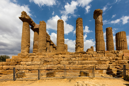 Ancient Greek Temple of Juno, also known as the Temple of Hera Lakinia, in Agrigento, Sicily, built in the peripterotic Doric style, dated back to the 5th century BC.