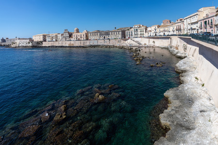 Waterfront of the Ortigia island, the historical center of the city of Syracuse, Sicily, Italy. Stock Photo