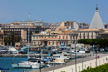 ortigia: SYRACUSE, ITALY - AUGUST 14 2016: Porto Piccolo (Small Port) is located north of the Ortigia island in Syracuse and serves the boats with small tonnage. Editorial