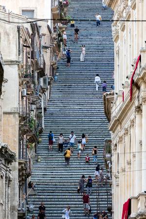wares: CALTAGIRONE, ITALY - AUGUST 13 2016: 18th century Staircase of Santa Maria del Monte, main landmark of Caltagirone, Sicily. The town is famous for its maiolica and terra-cotta wares. Editorial