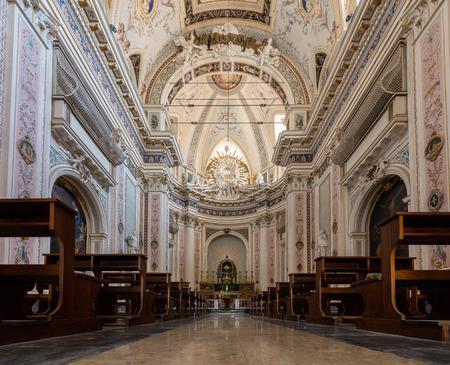 Interior of the early 18th century Basilica San Salvatore in Noto, Sicily, Italy