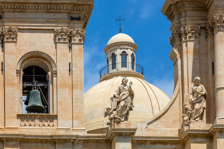 Bell tower of the 18th century Noto Cathedral in Noto, Sicily, Italy Stock Photo