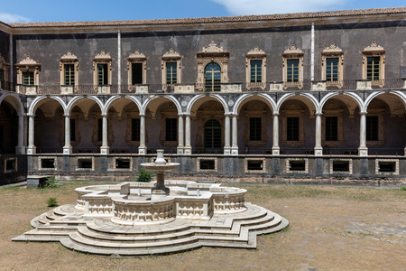 Cloister of the Benedictine Monastery of San Nicolo lArena in Catania, Sicily, Italy, a jewel of the late Sicilian Baroque style.