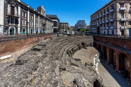 Roman amphitheater in Catania, built around 300 B.C. from the black lava stone.